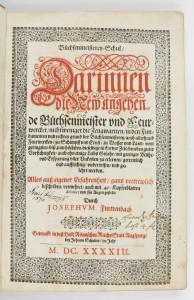 Photo of Büchsenmeisterey-Schul Darinnen Di Neu Angehende Büchsenmeister und Feuerwercker, nicht weniger die Zeugwartten … und gelehrt werden. by FURTTENBACH, Joseph.